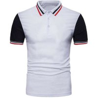 Stylish Men Tennis Golf Short Sleeve Polo T-Shirts Shirts(White)(L)